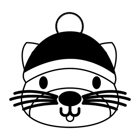 cute cat with warm hat christmas vector illustration Reklamní fotografie - 127604082