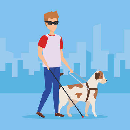 Blind man with dog, Disability health care assistance and accessibility theme Colorful design Vector illustration 스톡 콘텐츠 - 127604086