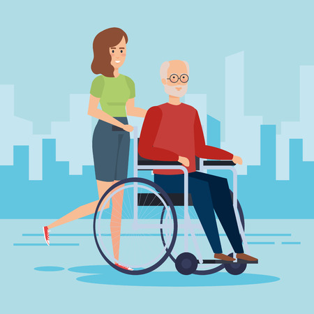 Disabled old man on wheelchair, Health care assistance and accessibility theme Colorful design Vector illustration 스톡 콘텐츠 - 127604087