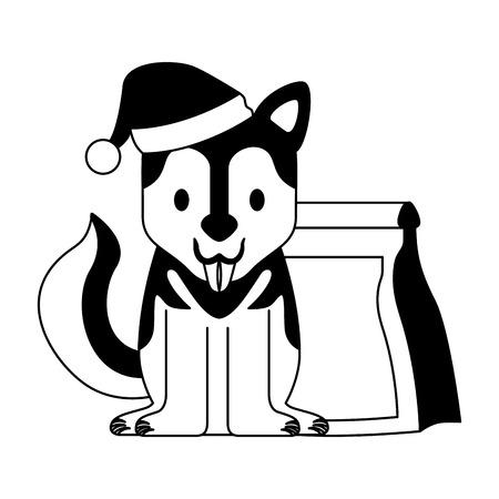 dog with and food bag merry christmas vector illustration