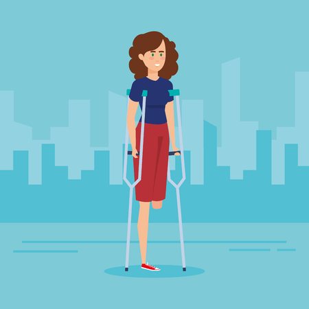 Woman with crutches, Disability health care assistance and accessibility theme Colorful design Vector illustration Çizim