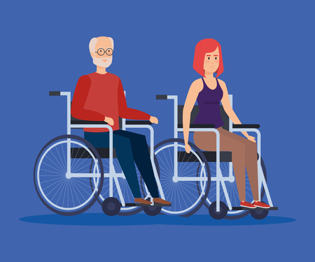 Disabled woman and old man on wheelchair, Health care assistance and accessibility theme Colorful design Vector illustration