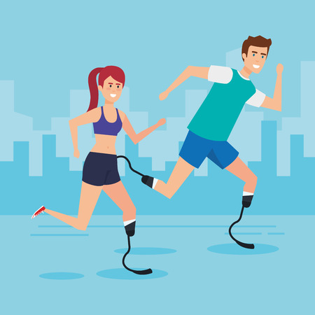 Woman and man with prosthesis, Disability health care assistance and accessibility theme Colorful design Vector illustration