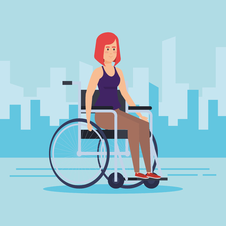 Disabled woman on wheelchair, Health care assistance and accessibility theme Colorful design Vector illustration
