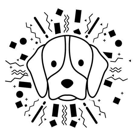 dog face party celebration confetti vector illustration Illustration