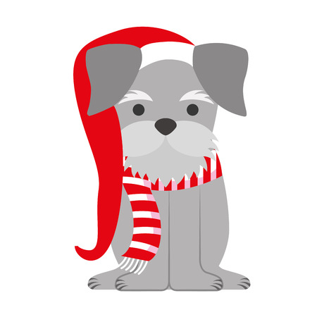 dog with scarf and hat merry christmas vector illustration Illustration