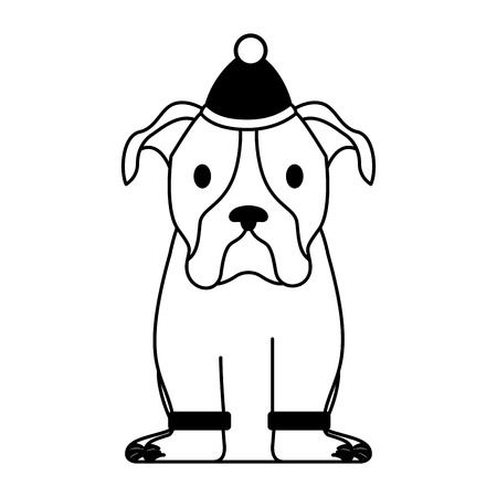 dog with sweater and hat merry christmas vector illustration