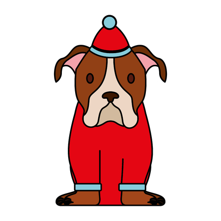 dog with sweater and hat merry christmas vector illustration Archivio Fotografico - 112308448