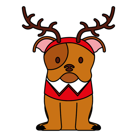 dog with horns merry christmas card vector illustration