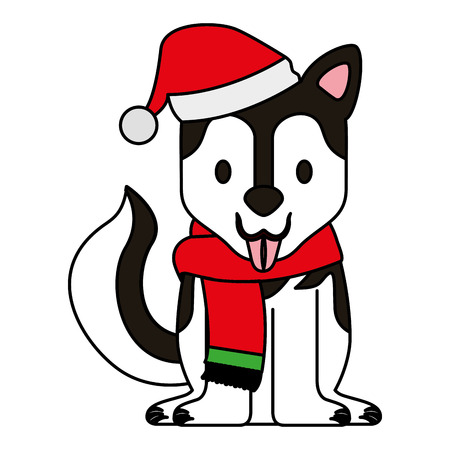 dog with scarf and hat merry christmas vector illustration Ilustrace