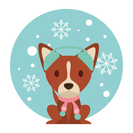 dog snowflake winter clothes christmas vector illustration