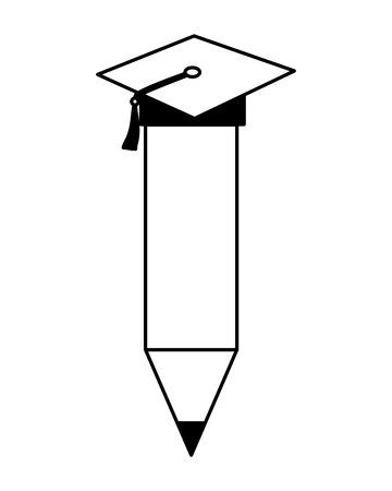 pencil with graduation hat education school vector illustration 向量圖像
