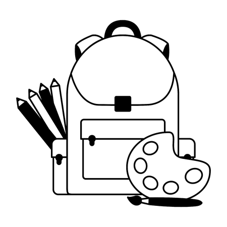 backpack palette color pencil education school vector illustration