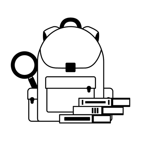 backpack books and magnifying glass education school vector illustration 일러스트