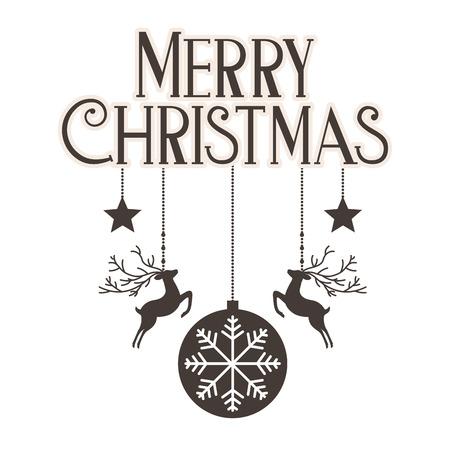 hanging deer ball star merry christmas decoration vector illustration Stock Vector - 112308503