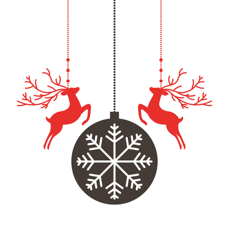 red deers and ball merry christmas decoration vector illustration Vettoriali