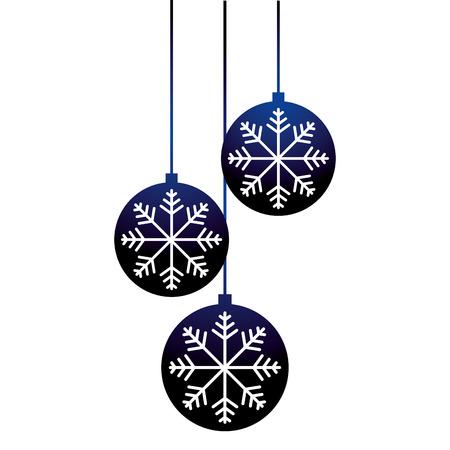 merry christmas decoration blue balls snowflake vector illustration