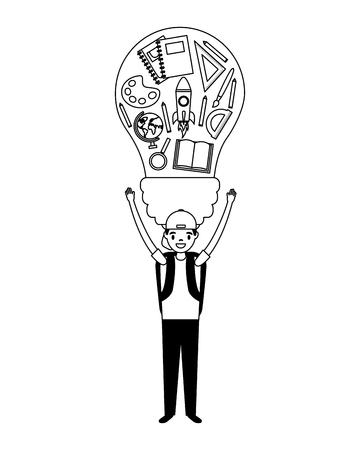 boy holding bulb supplies education school vector illustration 일러스트