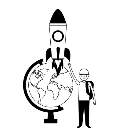 boy globe and rocket education school vector illustration Ilustracja