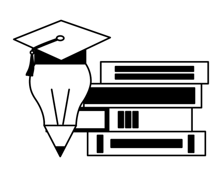 books and graduation hat pencil education school vector illustration Stock Vector - 112308519