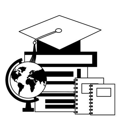graduation hat globe books education school vector illustration Illusztráció