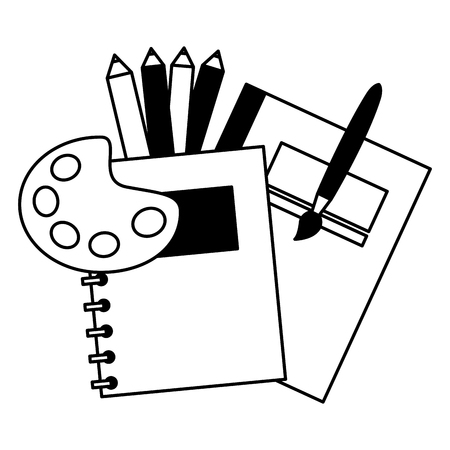 Notebook-Palette Farbe Pinsel Bildung Schule Vektor-Illustration Vektorgrafik