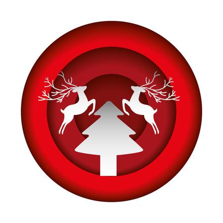 deer tree button merry christmas decoration vector illustration Illustration