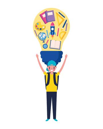 boy holding bulb supplies education school vector illustration Illustration