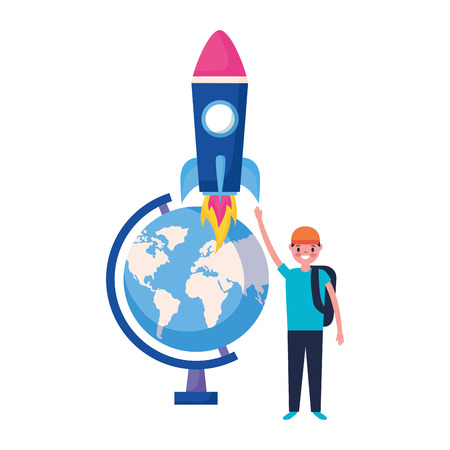 boy globe and rocket education school vector illustration 向量圖像
