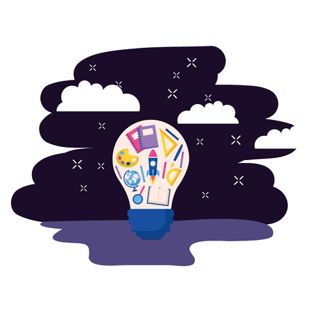 bulb creativity supplies education on space background vector illustration 일러스트