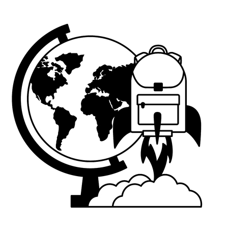 globe rocket backpack education school vector illustration Ilustração