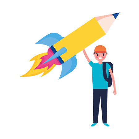 boy with pencil rocket education school vector illustration