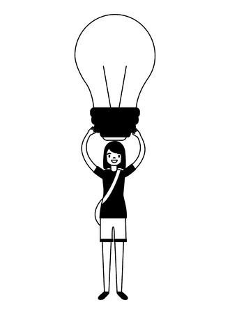 girl holding bulb creativity education school vector illustration