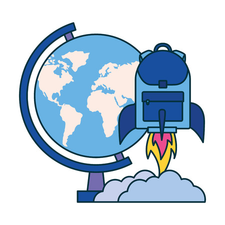 globe rocket backpack education school vector illustration Illustration