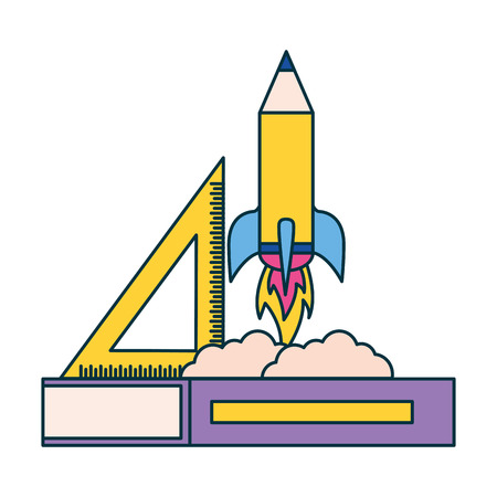 rocket book and ruler education supplies school vector illustration