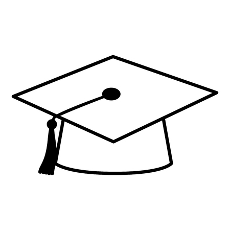 graduation hat education school on white background vector illustration