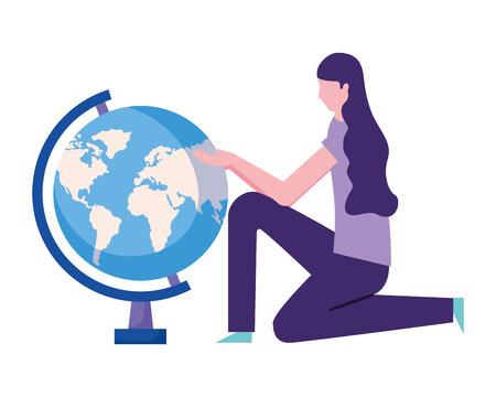 woman education school globe world vector illustration Illustration