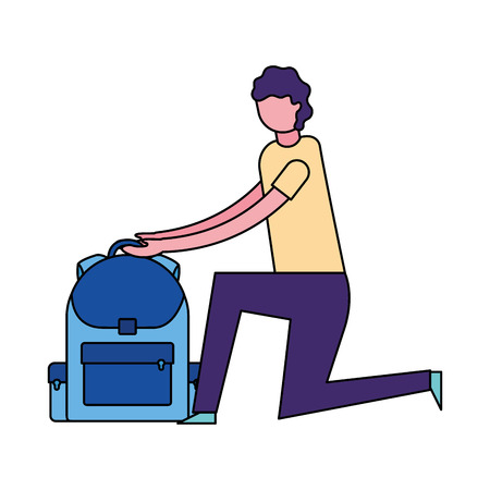 man with backpack education school vector illustration