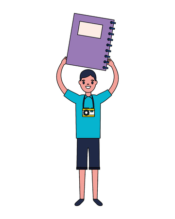 boy with book and camera education school vector illustration