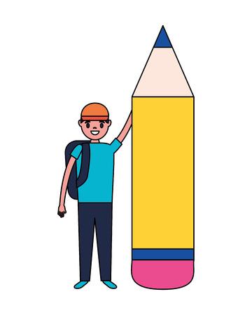 boy holding pencil education school vector illustration
