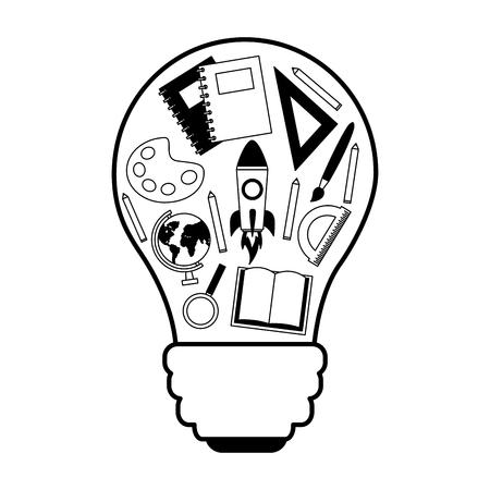 bulb creativity supplies education school vector illustration