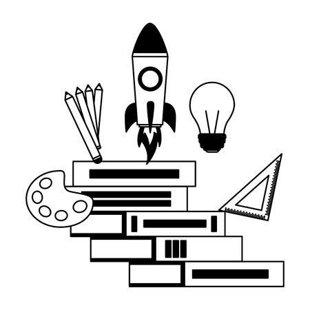 books learning supplies education school vector illustration