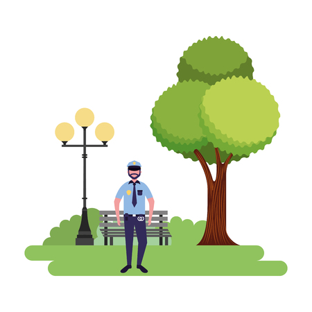 policeman standing in the park vector illustration