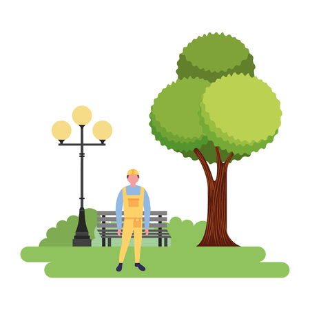 builder character in the park vector illustration Ilustrace