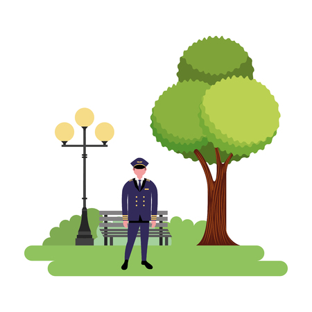 captain pilot in the park vector illustration