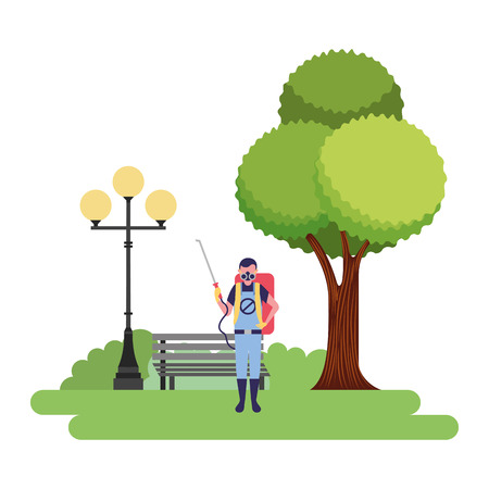 exterminator man in the park vector illustration
