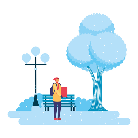 man with gift park winter scenery vector illustration Çizim