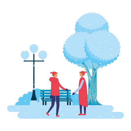 two men in the park winter scenery vector illustration Иллюстрация