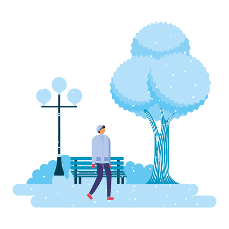 man walking park winter scenery vector illustration Illustration