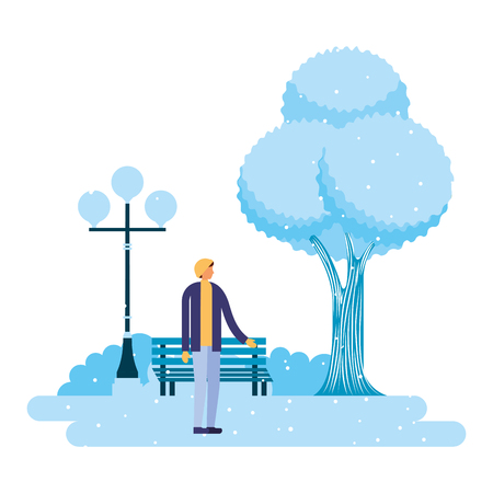 man standing in the park winter scenery vector illustration